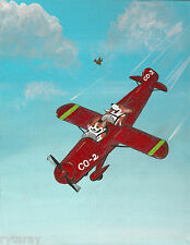 11x14 Print Of Painting Ryta Pembroke Welsh Corgi Airplane Pilot Folk Art Dog