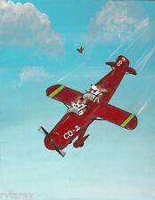 PRINT OF PAINTING RYTA PEMBROKE WELSH CORGI AIRPLANE PILOT FOLK ART DOG GIFT