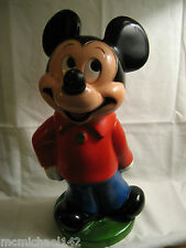 "RARE Vintage 11"" Tall Plastic Mickey Mouse Bank with plug From Play Pal Plastics"