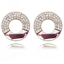 18K Rose Gold Plated Made With Swarovski Crystal Lovely Round Pink Stud Earrings