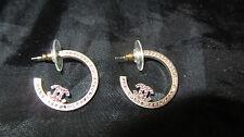 Chanel Pink Swarovski Hoop Earrings