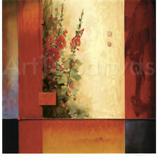 """Image 30""""x30"""" GARDEN OF HOLLYHOCKS by DON LI-LEGER NUMBERED #17/75 SIGNATURE S/N"""