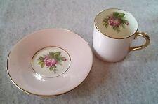 Vintage Windsor Bone China Cup and Saucer Demitasse pink rose set