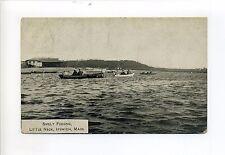 Ipswich MA Mass Little Neck, Smelt Fishing, people, boats, antique postcard