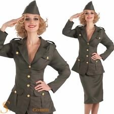 Ladies WW2 Army Girl Soldier Military Wartime Wold War Fancy Dress Costume