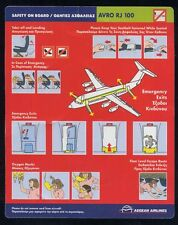 AEGEAN Airlines AVRO RJ 100 Airline SAFETY CARD airways leaflet ee e528