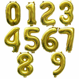 """32"""" GOLD HELIUM AGE NUMBER HAPPY BIRTHDAY BALLOONS PARTY DECOR SELF INFLATING UK"""