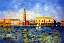 Framed, Renoir The Doges Palace, Venice Repro. Hand Painted Oil Painting 24x36in
