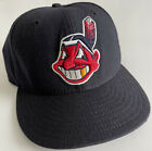 Vtg Cleveland Indians Gold Tooth New Era Fitted Pro Hat Cap MLB 7 3/8 Snap Wahoo
