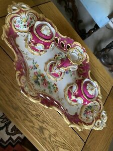 Large Mid 19c Coalport Porcelain Inkstand Wells & Miniature Taper Candlestick