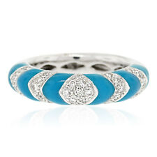 18k White Gold 0.33ctw Diamond and Enamel Ring