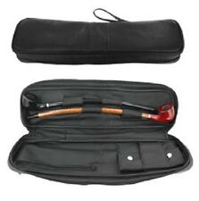 "Closeout - Black Leather Two Churchwarden 16 1/2"" Pipe Bag With Tobacco Pouch"