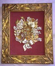 Vintage Rhinestone Costume Jewelry Framed Art Flower Bouquet Tree