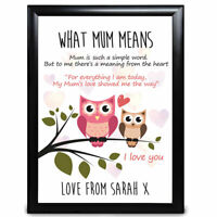 Personalised Mothers Day Gifts Owls Her Mother Mum Mummy Nan Gift Print Card