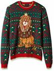 $195 Blizzard Bay Boy's Green Red Christmas Decked Out Lion Ugly Sweater Size S