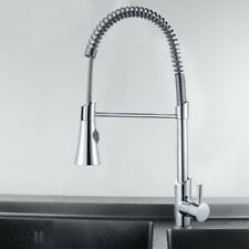 Kitchen Sink Pull Out Spray Mixer Tap Brushed Steel Chrome Faucet UK Seller