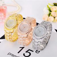 Damen Mode crystal Strass Shinny Business P/D Quarzuh Edelstahl Armbanduhr