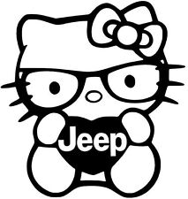 JEEP HELLO KITTY WRANGLER LIBERTY vinyl car window decal sticker 13 COLORS