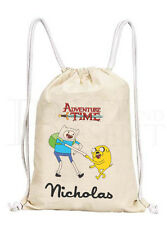 Personalised Adventure Time Drawstring Canvas Gym Bag