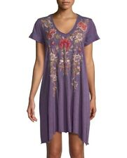 NWT JOHNNY WAS SIMONA DRESS EMBROIDERED LONG TUNIC PLUMBERRY PURPLE KNIT SZ XL