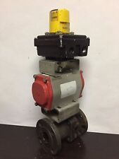 "1-1/2"" Flowtek Flanged Ball Valve w/Limit Switch & Indicator Beacon"