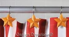 Star Shower Hooks Set of 12 Yellow Americana Bath Decor New in Pkg 2.5 inch