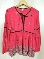 Lucky Brand Women's Large Long Sleeve Tie Front Boho Peasant Knit Tunic Top