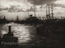 1924 Vintage GERMANY Hamburg Harbour Nautical Ships Port Photo Art By HIELSCHER