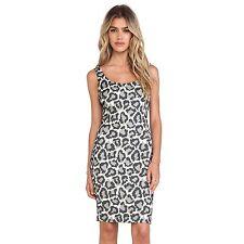 New Diane Von Furstenberg Arianna Leopard Print Dress Black & Ivory & Fog Size 6