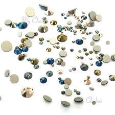144 Mixed Sizes Swarovski 2058/2088 flatbacks rhinestones METALLIC Colors Mix