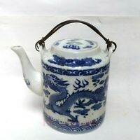 Collected China Old blue-and-white Porcelain Dragon Flagon Teapot H 7.0 inch