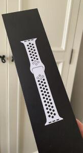 Genuine Apple Watch Nike Sport Band Strap Pure Platinum /Black 44mm 42mm s/m m/l