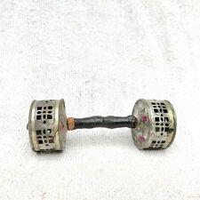 1940 Vintage Bruit Fabrication Hochet Boite Jouet Double Côté Bon Son Bois Anse