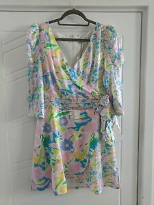 Olivia Rubin Neon Pastel Floral Print Dress Size 12 BNWT RRP £340