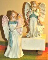 Vtg Homco Lot of 2 Guardian Angel w/Baby #1434 & Angel Praying #1474 Figurines