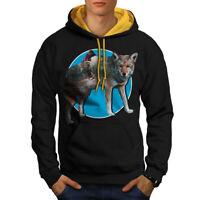 Wellcoda Wolf Beast Nature Animal Mens Contrast Hoodie, Fox Casual Jumper