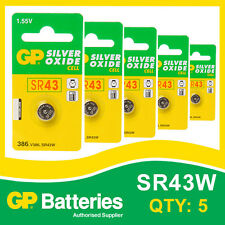GP Silver Oxide Button Battery 386 (SR43) card of 5  [WATCH & CALCULATOR]