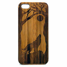 Wolf Case for iPhone 7 Bamboo Wood Cover Howling Full Moon Wild Dog Sp