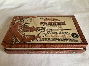 Vintage Mattel Shootin Shell Fanner Cap Pistol W/Bullets Bag & Box #608