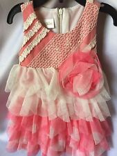 Isobella and Chloe Girls Serenity Coral Pink Ruffled Tiered Dress Size 12M-New