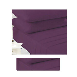 Non Iron Percale Plum Double Sheet Extra Deep Poly Cotton Double Sheet Fitted