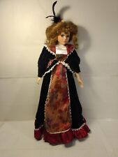 """Victorian Style Girl In Black Dress 21"""" Porcelain Doll With Stand ds1413"""