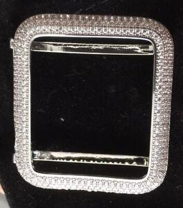 ICED APPLE WATCH CASE 100s Cubic Zirc. 42mm Silver Ptd SALE Was£40 LAST ONE.!