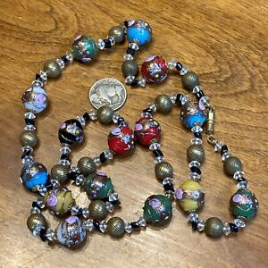 """VNTG LONG MULTI COLORED MURANO WEDDING CAKE ART GLASS BEAD NECKLACE ~ 30"""" ITALY"""