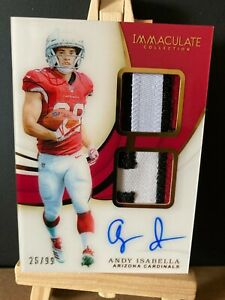 ANDY ISABELLA NFL 2019 IMMACULATE COLLECTION ROOKIE SIGNATURE PATCH (CARDINALS)