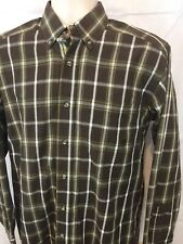 Ariat Pro Series Western Cowboy Shirt Mens Size Medium Plaid Long Sleeve Brown