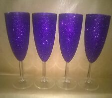 Set Of 4 Glitter Champagne Flutes İn Cadburys Purple - Ready to Post