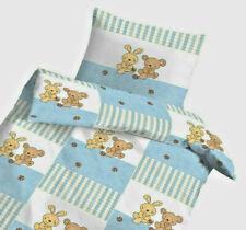 Baby Bettwäsche 100x135 cm Häschen und Teddybär blau Baumwolle (pf)