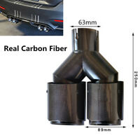 Glossy Carbon Fiber Car Dual Exhaust Pipe Muffler Tip Tail Throat Plating Black