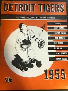 MLB BASEBALL DETROIT TIGERS PICTURES RECORDS PROGRAM 1955 EXCELLENT CONDITION